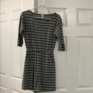 F21 Grey Striped Dress with pockets